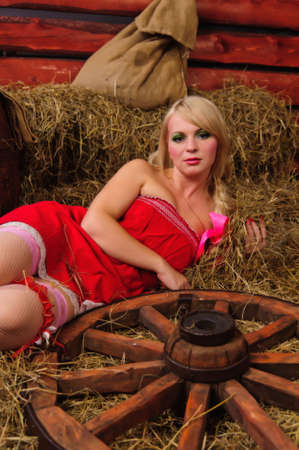 cute young farm girl: Country girl on hay