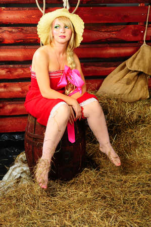 Country girl on hay Stock Photo - 13219032