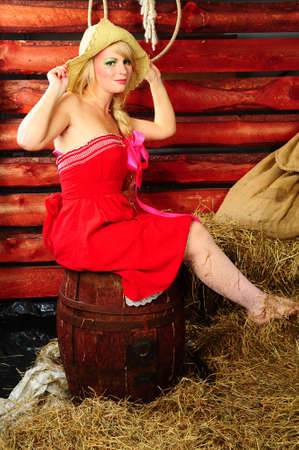 Country girl on hay Stock Photo - 13219031