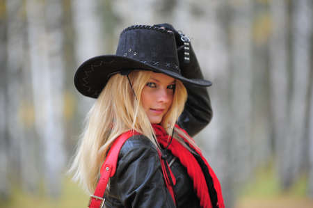 young blonde in a cowboy hat photo