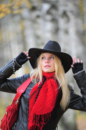 young blonde in a cowboy hat Stock Photo - 10076270