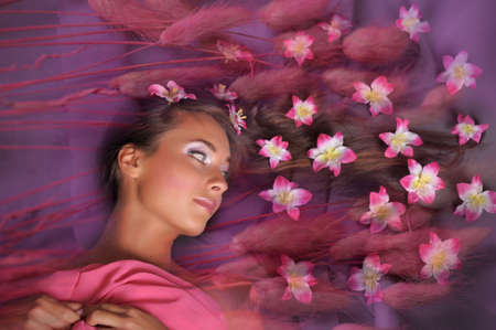 girl with flowers in their hair Stock Photo - 9729711