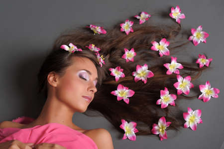 girl with flowers in their hair Stock Photo - 9729710