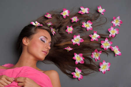 girl with flowers in their hair Stock Photo - 9729712