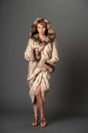 girl in a mink coat photo