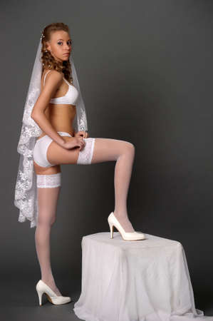 bride dress up stockings photo