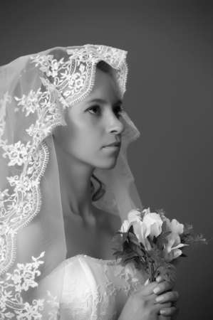 the bride with a bouquet photo