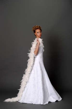 bride with white boa photo