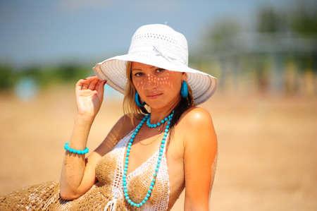 The girl on a beach photo