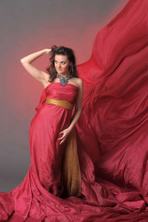 The beautiful girl in a long red dress Stock Photo - 11422345