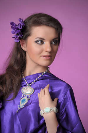 Young Girl in a Purple Dress  photo