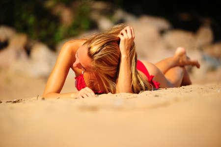 beach breast: Young beautiful woman on beach