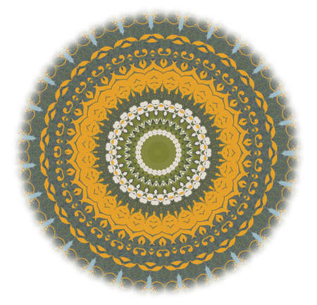 yellow with a green circular pattern photo