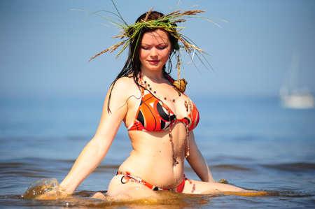 welfare: Girl having fun in the water