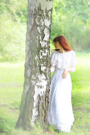 girl in birch photo retro Stock Photo - 10845254