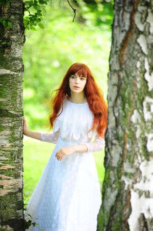 girl in birch photo retro Stock Photo - 10845255