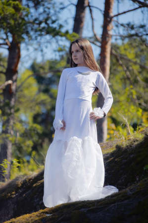 girl in white dress in the woods Stock Photo - 10324932