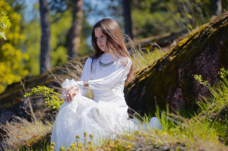 girl in white dress in the woods Stock Photo - 10324933