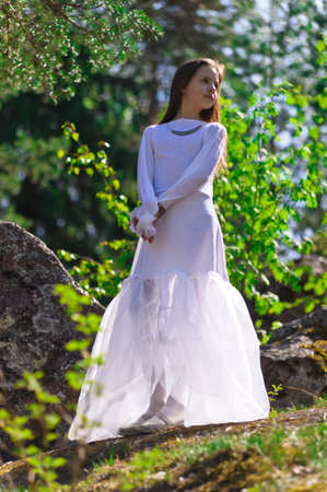 girl in white dress in the woods Stock Photo - 10324624