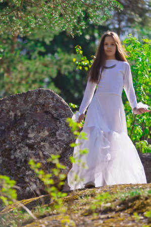 girl in white dress in the woods Stock Photo - 10324628