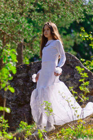 girl in white dress in the woods Stock Photo - 10324625