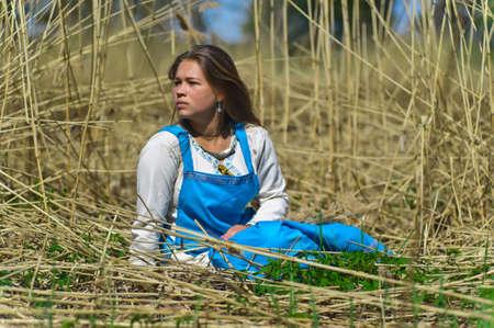 girl in ethnic dress in the park Stock Photo - 13216231