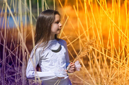 girl in white dress among the high dry grass Stock Photo - 10221555