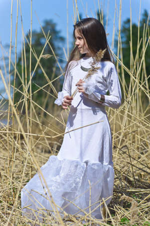 peasant farming: girl in white dress among the high dry grass Stock Photo
