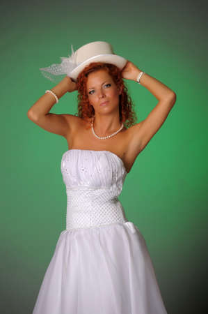 bride with white hat photo