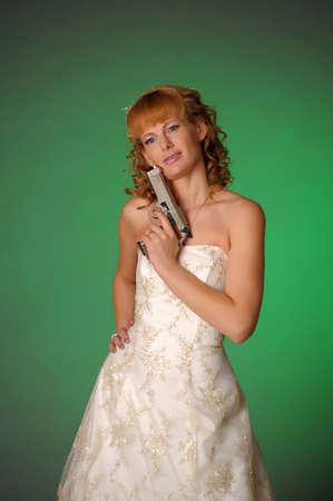 bride with a gun Stock Photo - 10323606