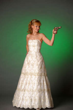 bride with a gun Stock Photo - 10323611
