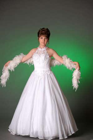 Bride with boa photo