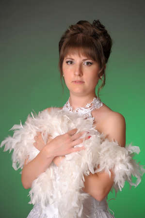 Bride with boa photo