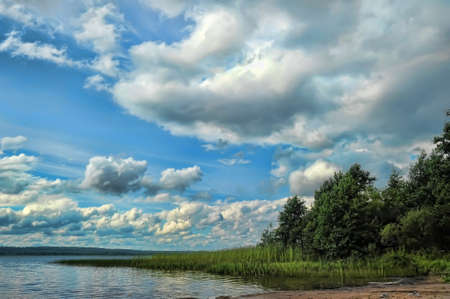 Beautiful clouds over lake photo