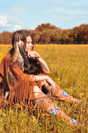 squaw: The girl in a suit of the American Indian