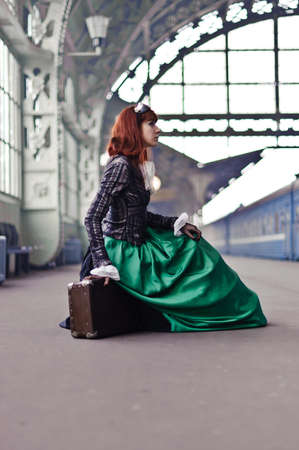 girl at the train station  photo