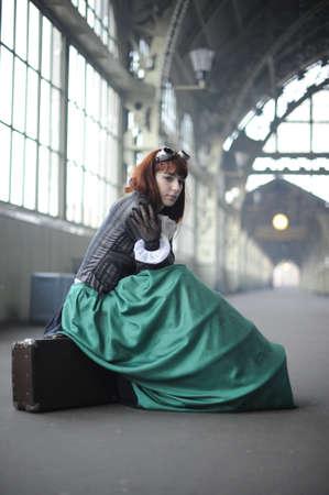 Dívka na nádraží Reklamní fotografie - 11573799