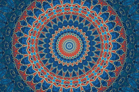 Oriental decoration in blue and red colors photo