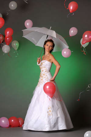 Bride and ballons photo