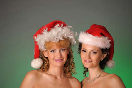 two girls in the New Year hats photo
