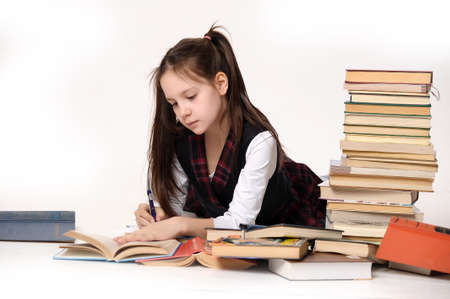 leaning over: girl with a big stack of books