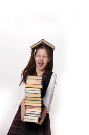 girl with a big stack of books Stock Photo - 10728217