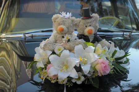 Wedding Bears on the hood photo