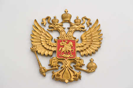 double cross: Russian coat of arms Stock Photo