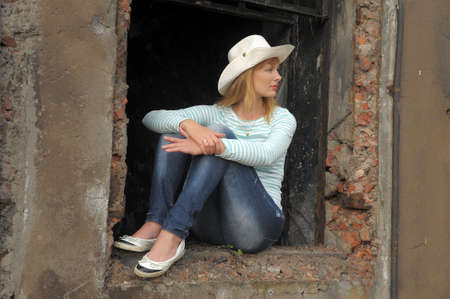 woman sitting on the ruins Stock Photo - 10788989