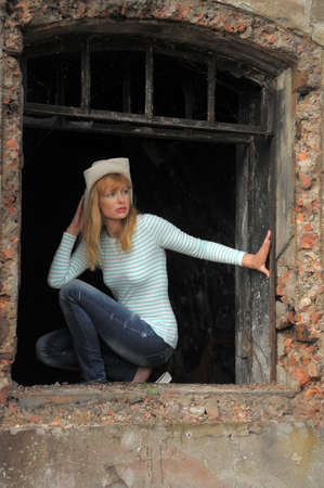 woman sitting on the ruins Stock Photo - 10788990
