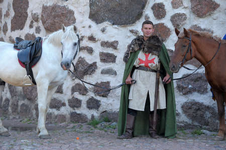 Knight with horse photo