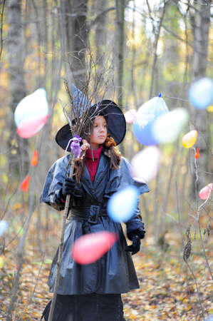 Small girl in a witch halloween costume Stock Photo - 10835740
