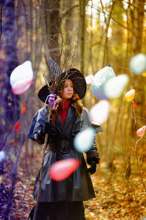 Small girl in a witch halloween costume Stock Photo - 10835760