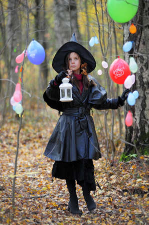 Small girl in a witch halloween costume Stock Photo - 10835820